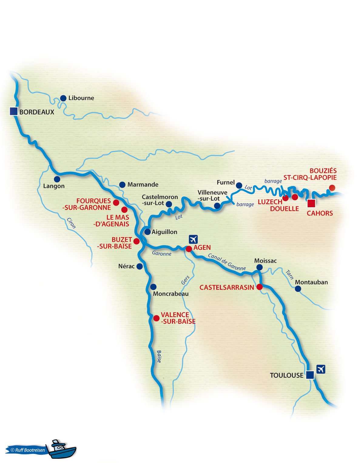 Frankreich Lot Gewässerkarte
