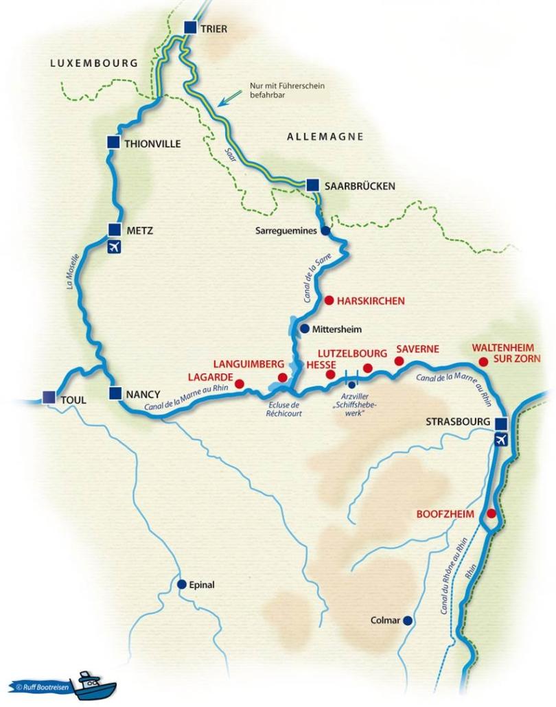 Hausboot mieten Elsass Lothringen mieten Frankreich Elsass Gewässerkarte