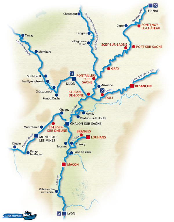Frankreich Saône Gewässerkarte
