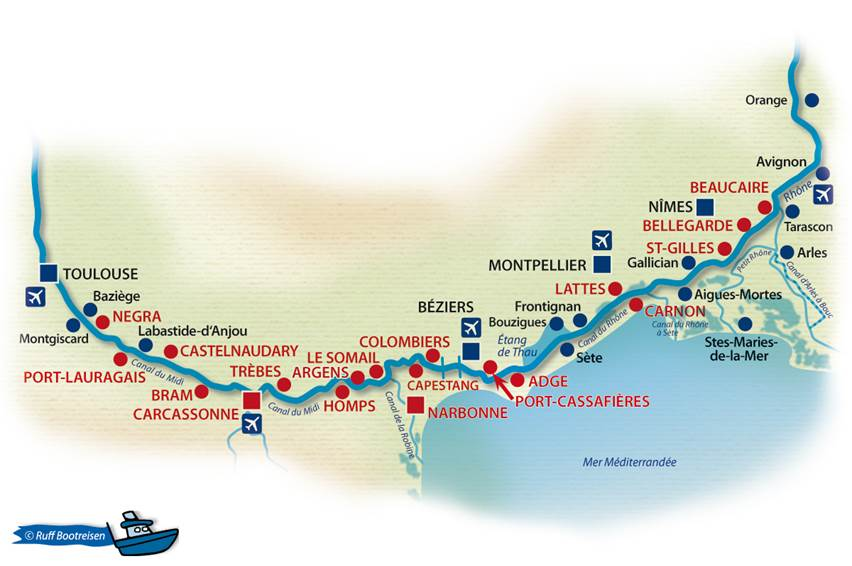 Frankreich Canal du Midi, Camargue Gewässerkarte