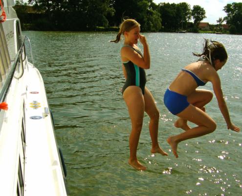 Hausboot fahren Masuren baden im See