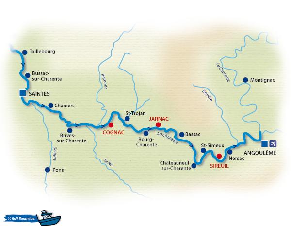 Frankreich Charente Gewässerkarte
