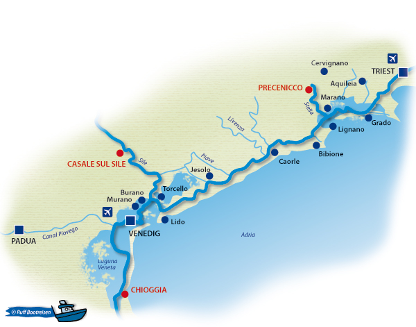 Italien Venedig Gewässerkarte