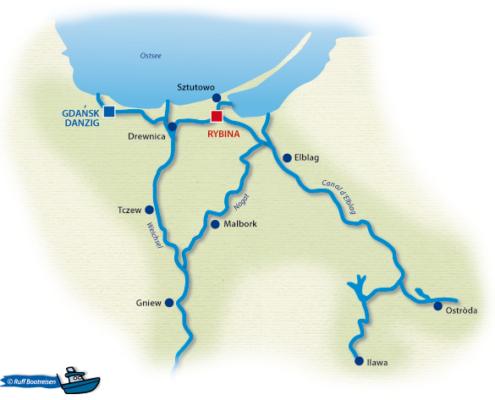 Polen Weichsel Gewässerkarte