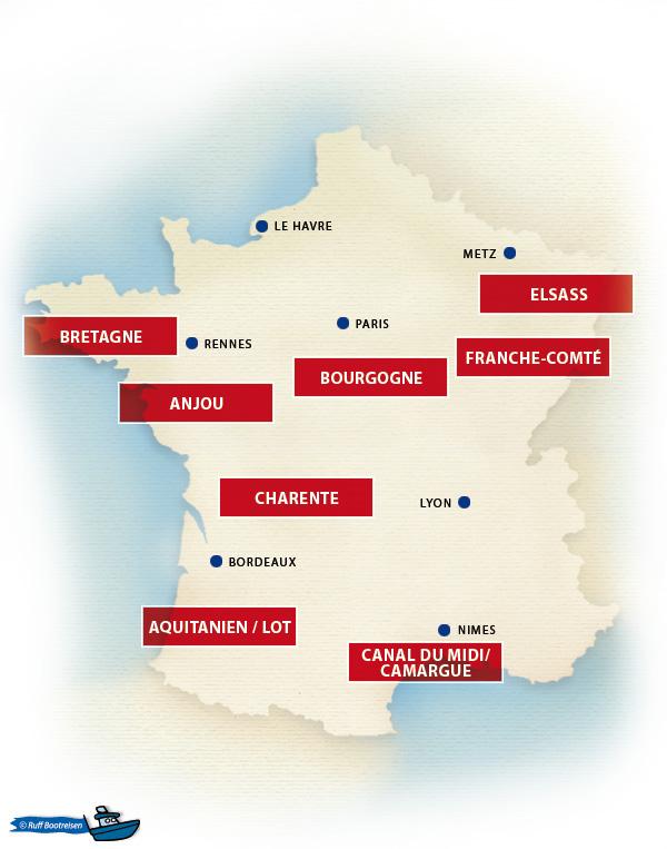 Hausbootreviere in Frankreich Landkarte