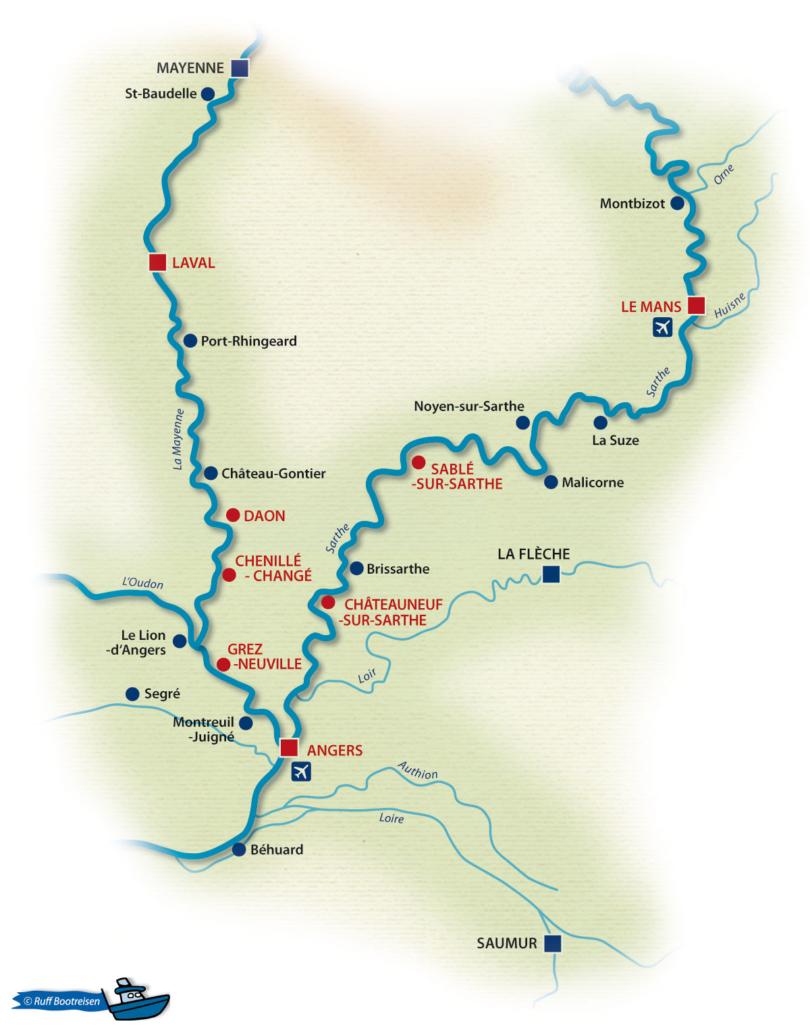 Frankreich Mayenne Sarthe Gewässerkarte