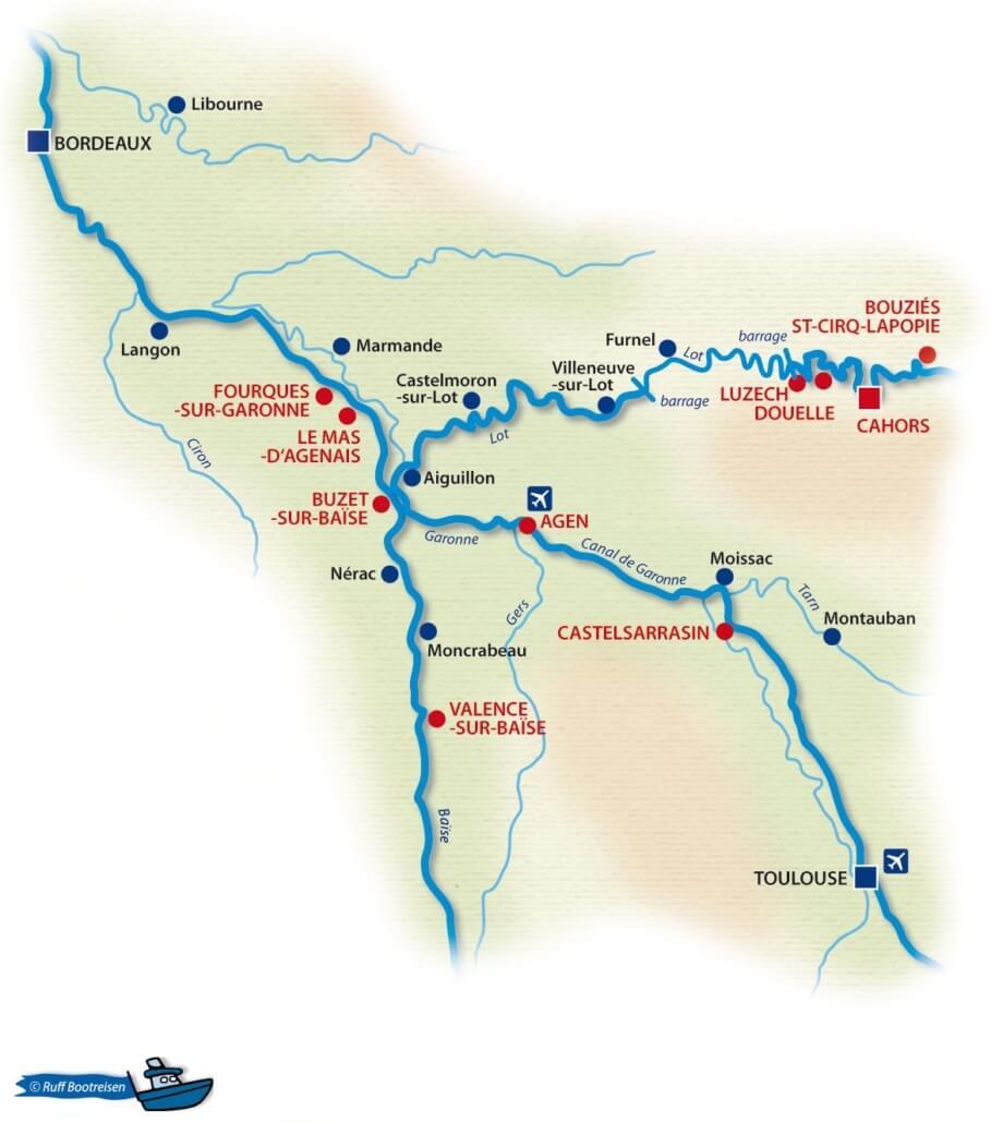 Gewässerkarte in Aquitanien: Lot und Baise