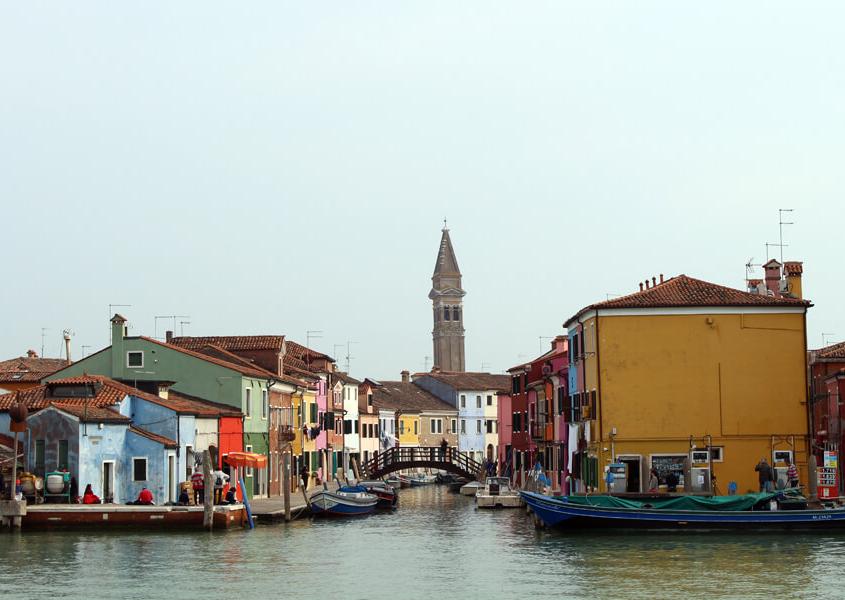 Insel Burano vom Hausboot aus Lagune Venedig
