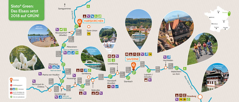 Übersichtskarte Ladestationen elektrische Hausboote Elsaß