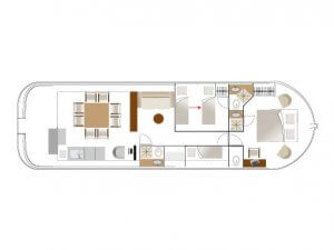 Grundriss Hausboot La Peniche P