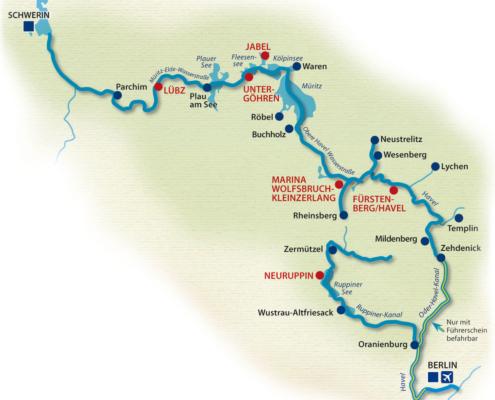 Mecklenburg Gewässerkarte