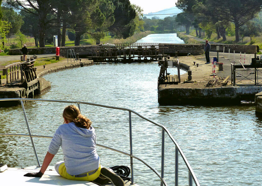 Canal du Midi Rundschleuse bei Homps