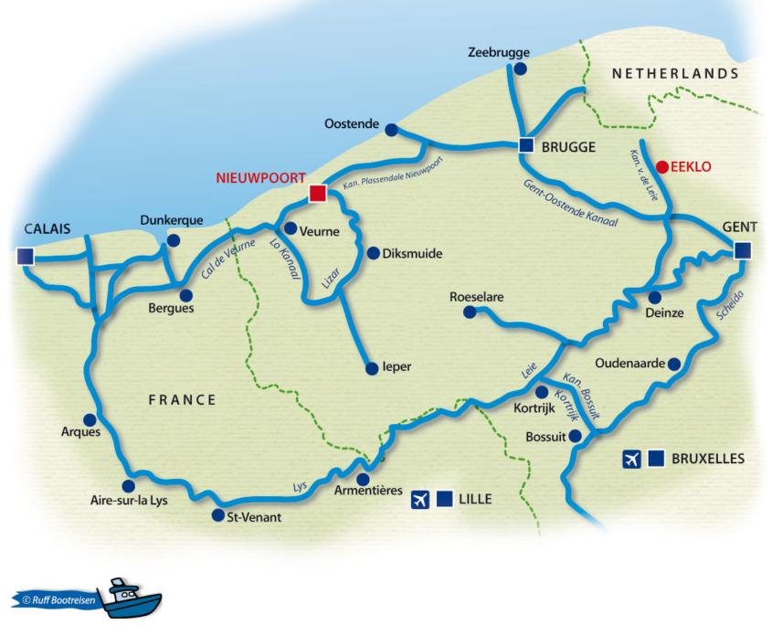 Hausboot mieten Belgien Hausbootrevier Gewässerkarte