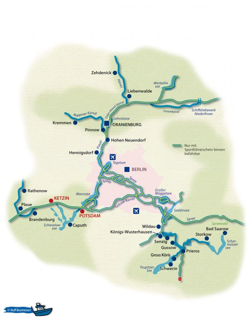 Brandenburg Gewässerkarte