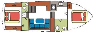 Hausboot 2 Kabinen Archipel Grundriss