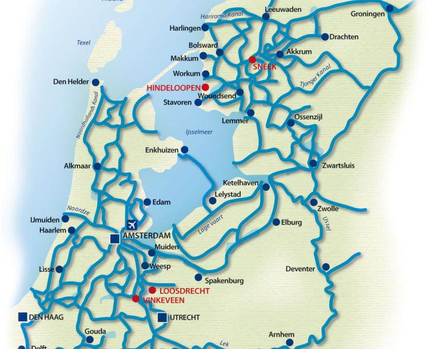 Holland Gewässerkarte Hausboot mieten Holland