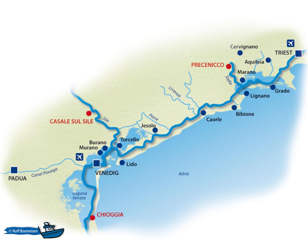 Bootsferien Lagune Grado Marano Gewässerkarte Italien