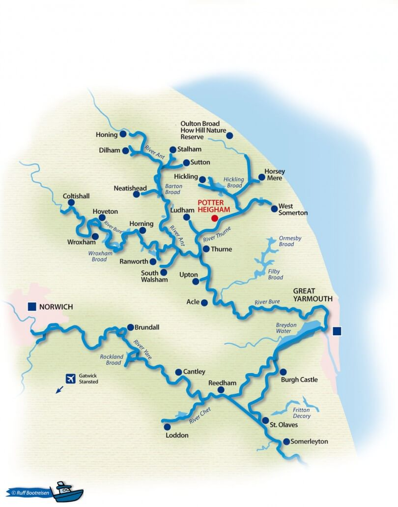 Norfolk Broads England Gewässerkarte